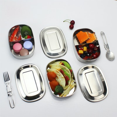 Portable Stainless Steel Square Bento Lunch Box