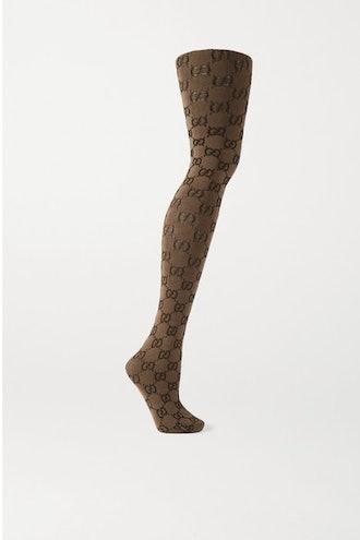 Jacquard-Knit Tights