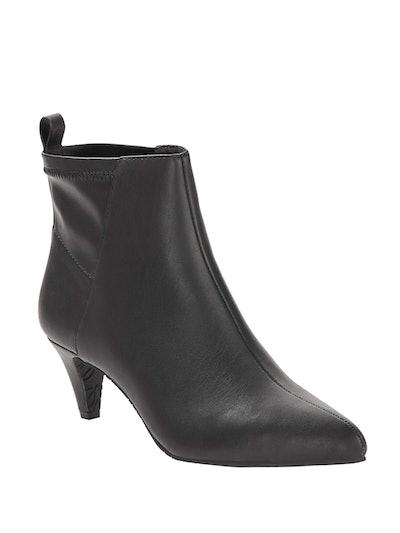 Melrose Ave Vegan Leather Slip-on Kitten Heel Bootie