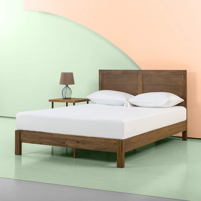 Zinus 12 Inch Acacia Wood Platform Bed with Headboard