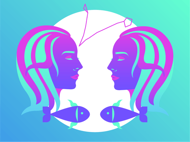 Drawing of the Pisces horoscope sign.
