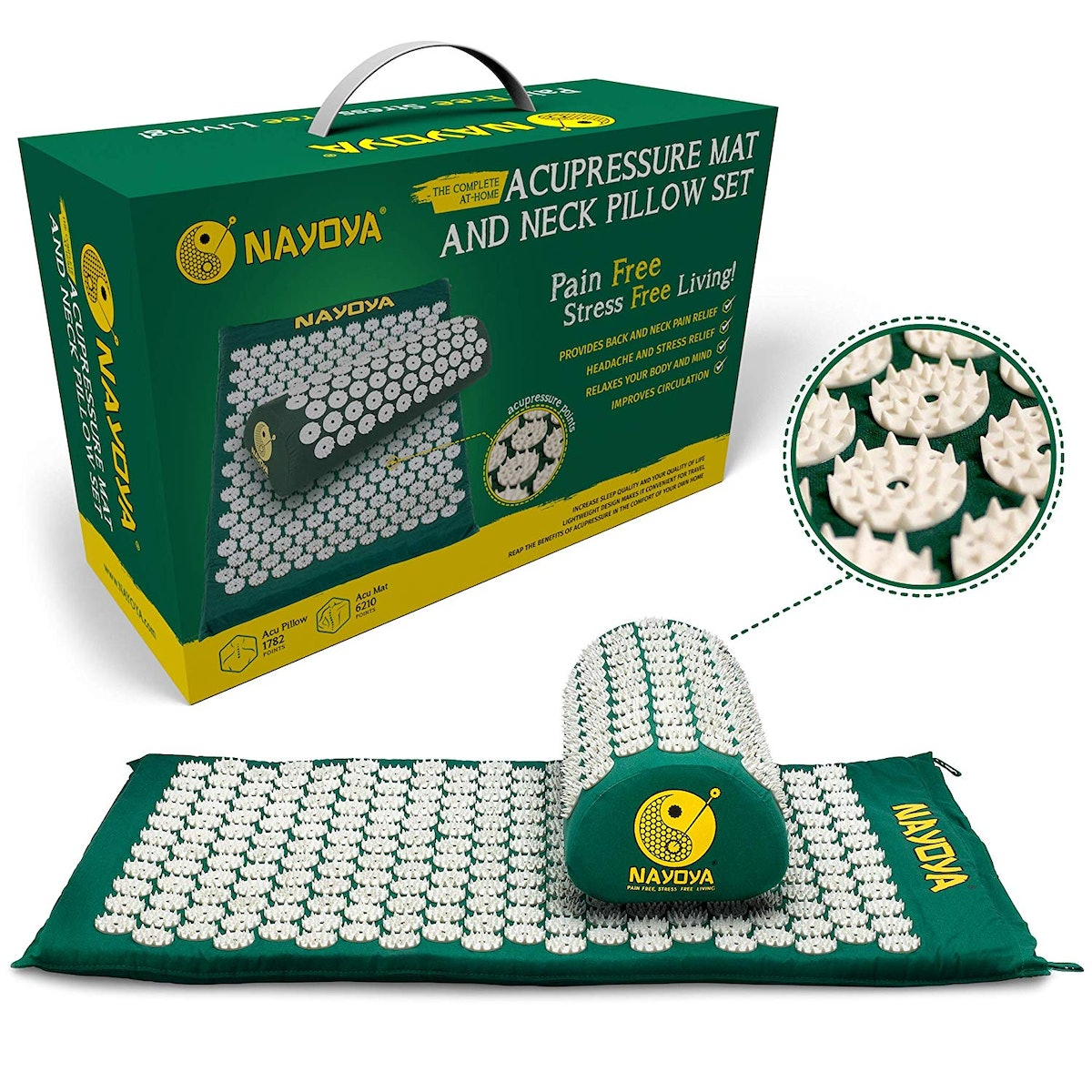 Nayoya Back & Neck Pain Relief - Acupressure Mat and Pillow Set