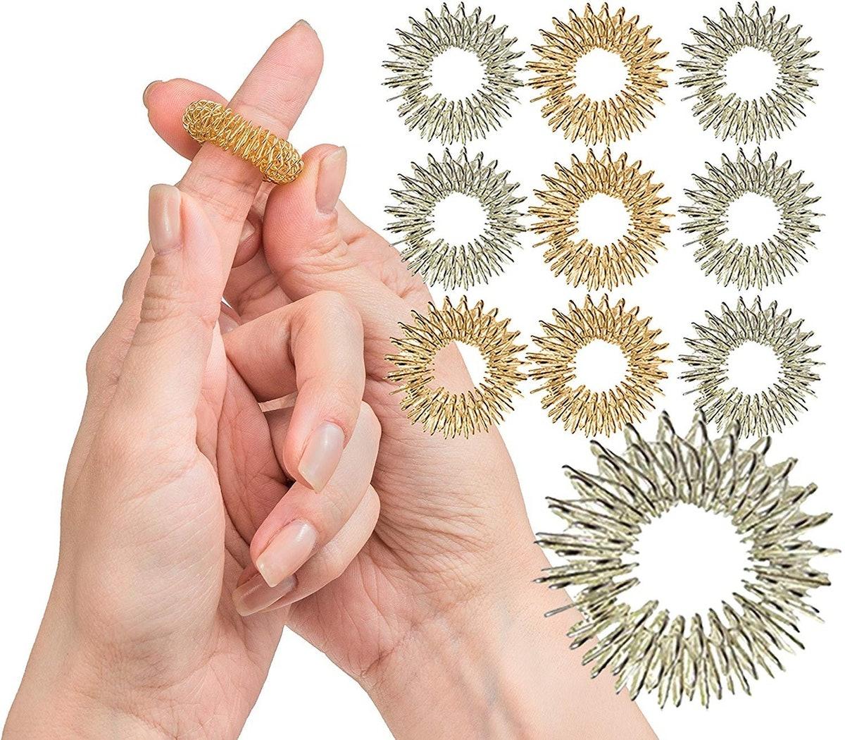 Impresa Products Spiky Sensory Finger Rings (10-Pack)