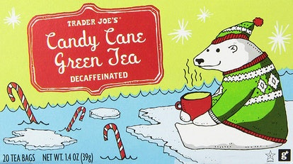 Trader Joe's Candy Cane Green Tea combines flavors of peppermint, vanilla, and cinnamon.
