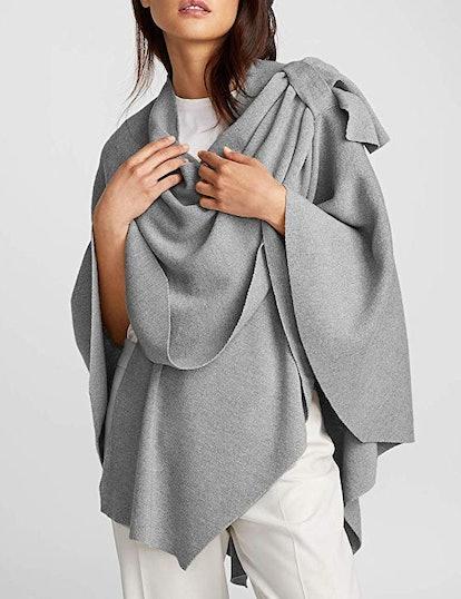 PULI Womens Large Cross Front Poncho Sweater