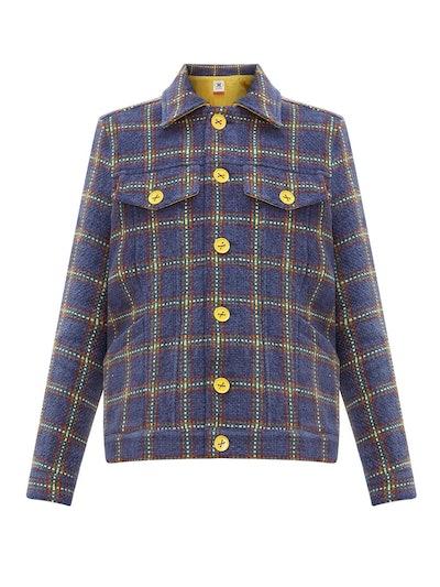Checked Upcycled Velvet Tweed Jacket