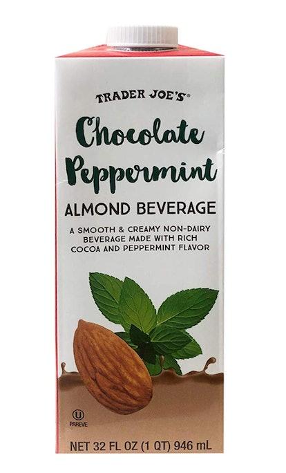 Trader Joe's Chocolate Peppermint Almond Beverage is the seasonal almond milk you seek.