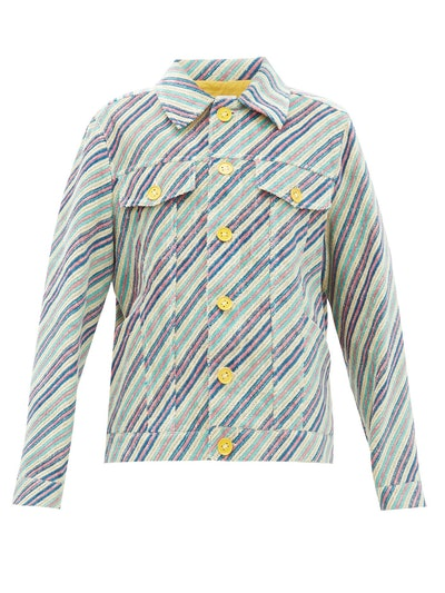 Striped Upcycled Linen-Blend Chenille Jacket