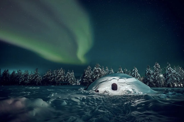 If you're lucky, you'll be able to see the Northern Lights from outside your igloo.