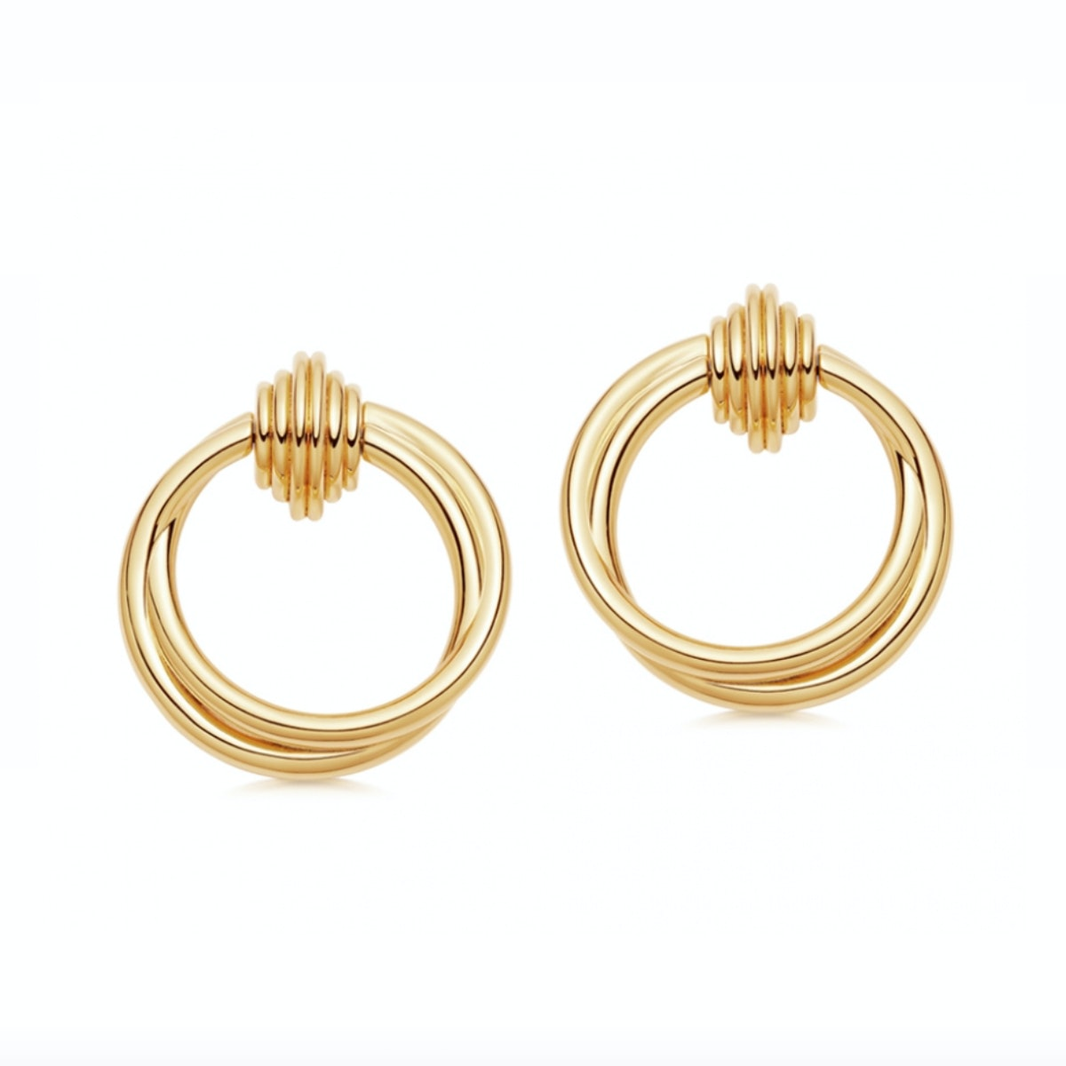 Lucy Williams Gold Entwine Front Facing Hoop