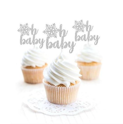 Snowflake Oh Baby Cupcake Toppers
