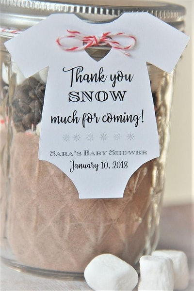 Thank you SNOW much for coming: Baby Onesie Gift Tags