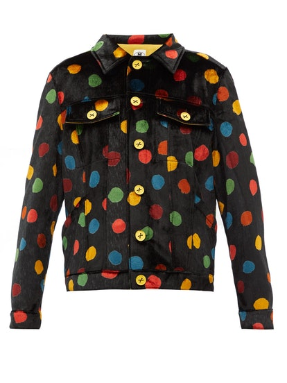 Polka-dot Print Upcycled-Velvet Shirt Jacket