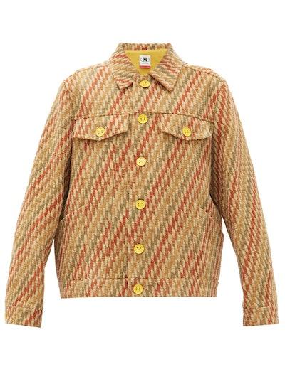 Boxy Striped Upcycled-Jacquard Jacket