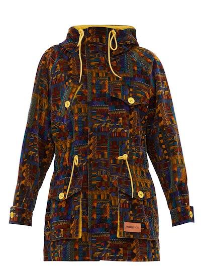 Geometric-Print Upcycled Cotton-Velvet Parka Coat