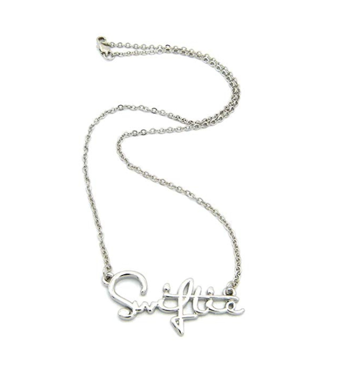 """NYFASHION101 Swiftie Fans Pendant Necklace in Silver-Tone with 2mm 18"""" Link Chain Necklace"""