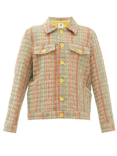 Boxy Upcycled Checked Jacquard Jacket