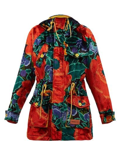 Floral-Print Padded Upcycled-Velvet Hooded Parka