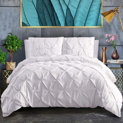 ASHLEYRIVER 3 Piece Pinch Pleated Duvet Cover Set