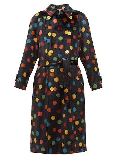 Polka-Dot Print Upcycled Velvet Trench Coat