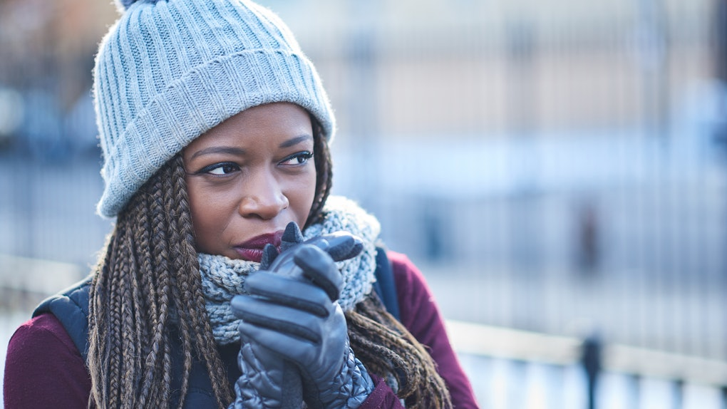 Black woman cold in winter