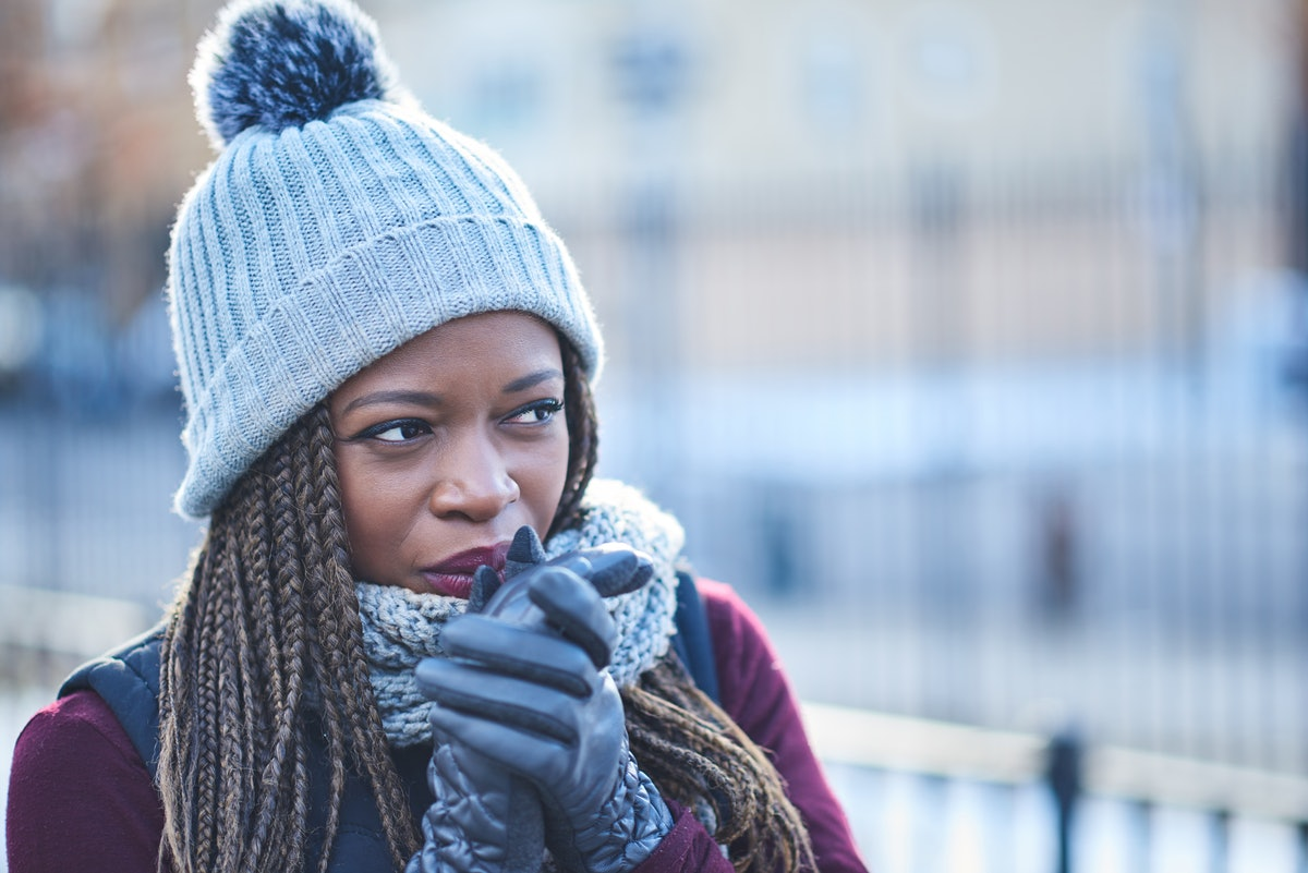 Black woman cold in winter