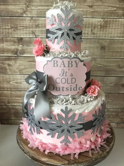 Baby It's Cold Outside Diaper Cake in Pink and Silver