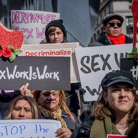 Protestors call for full decriminalization of sex work.