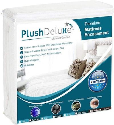 PlushDeluxe Premium Zippered Mattress Encasement