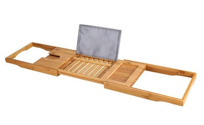 LANGRIA Bamboo Bathtub Caddy Tray With Extending Sides