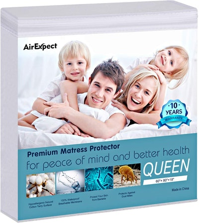 AirExpect 100% Organic Cotton Hypoallergenic Breathable Mattress Pad Cover