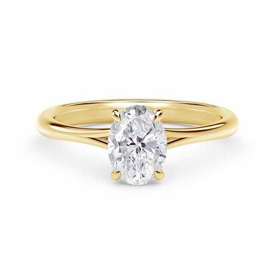 Icon Setting Oval Engagement Ring with Diamond Basket