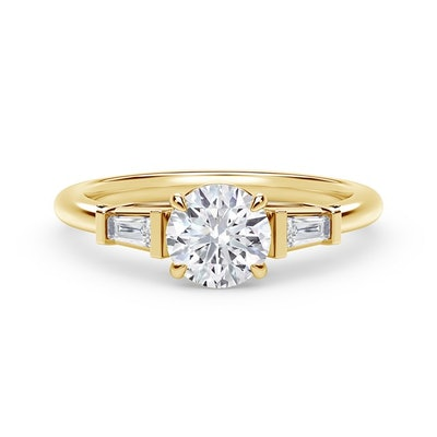 Accents Engagement Ring with Tapered Baguette Sides