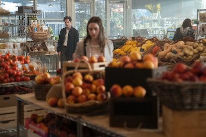 Joe (Penn Badgley) and Love (Victoria Pedretti) at Anavrin in 'YOU' Season 2