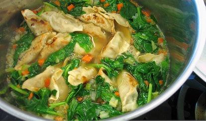 Trader Joe's frozen wontons can be easily made into wonton soup.
