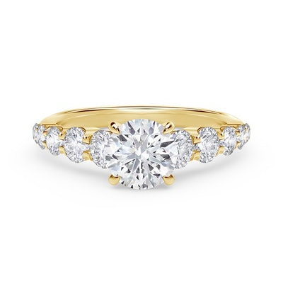 Icon Setting Round Engagement Ring with Graduated Diamond Band