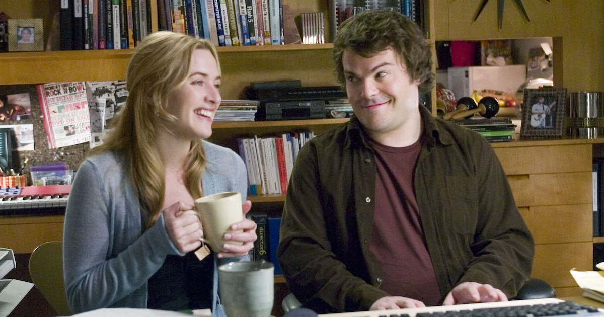 Kate Winslet and Jack Black in a scene from 'The Holiday' sip tea and laugh.