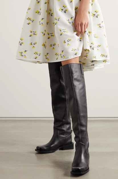 MC leather over-the-knee boots