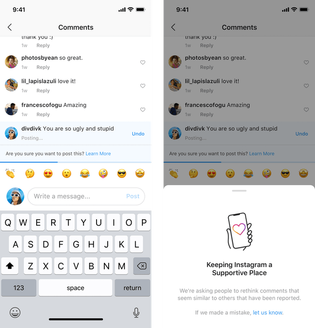 Instagram's new anti-bullying feature is an expansion of its previously released comment feature.