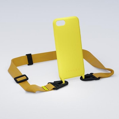 Yellow Silicon Case + Caramel Lanyard