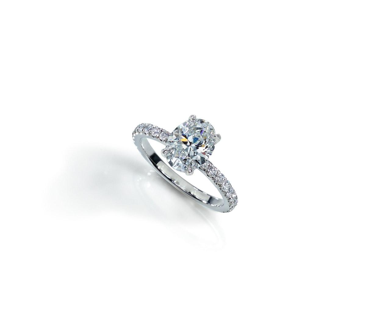 Oval-Shape White Diamond Ring