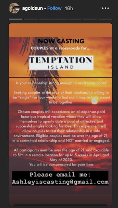 Ashley Goldson recruits couples for Temptation Island Season 3 on Instagram