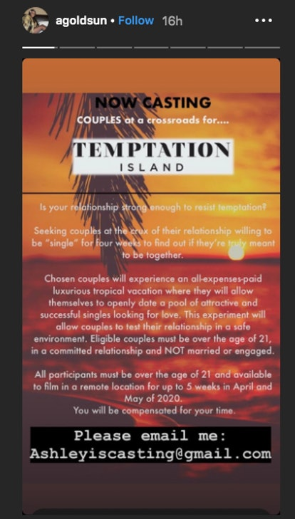 Ashley Goldson recruits couples for Temptation Island Season 3 on Instagram