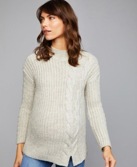 Cable Knit Mock Neck Maternity Sweater