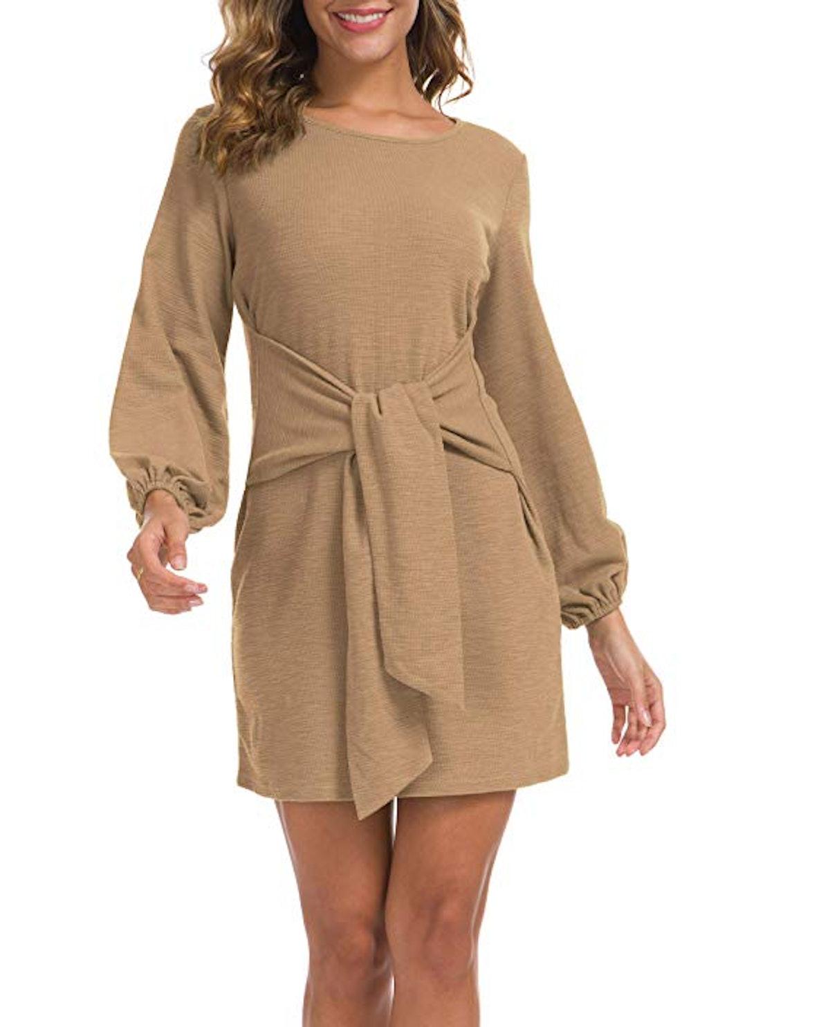 Lionstill Casual Tie Waist Sweater Dress