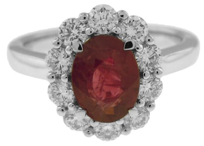 18k White Gold and Ruby Diamond Ring