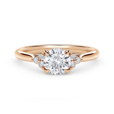 Accent Engagement Ring with Triple Sides