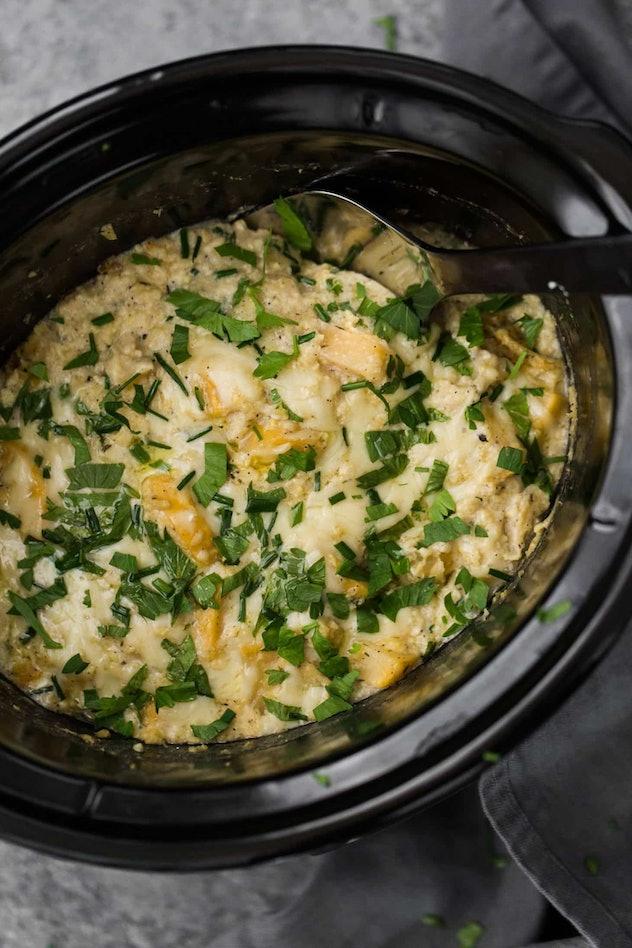slow cooker full of millet rutabaga gratin