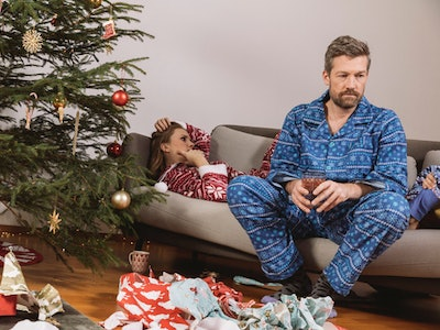 stressed couple on christmas morning