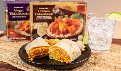 An easy Trader Joe's frozen meals hack it putting your favorite dish into a tortilla for a quick burrito.